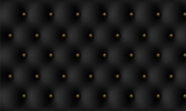 Черная кожа винтажной текстуры роскоши с фоном кнопок