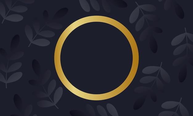 Черные листья с фоном золотой круг. лучший дизайн для вашего баннерного сайта.