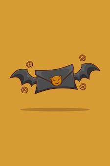 Black letter and bat wings cartoon illustration