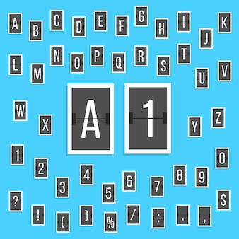Black letters and numbers alphabet scoreboard stickers. concept of board at the airport and sports scores. isolated on blue background. flat style trendy modern design vector illustration