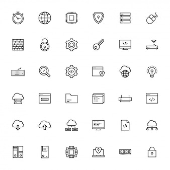 Black line art illustration of business or programing icon.