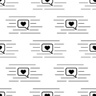 ソーシャルメディアのスピーチバブル、内側のハート、白い背景で隔離のチャットラインと黒い線画ベクトルシームレスパターン。ハートのアイコンが付いたダイアログボックス。ウェブカバー、装飾のための無限のテクスチャ