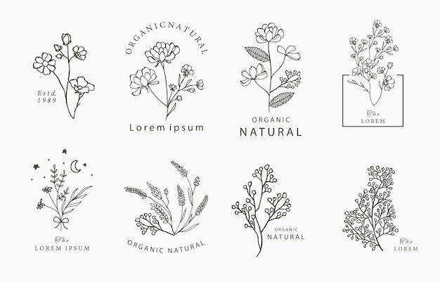 Черная линия цветочного логотипа с жасмином, лаванда