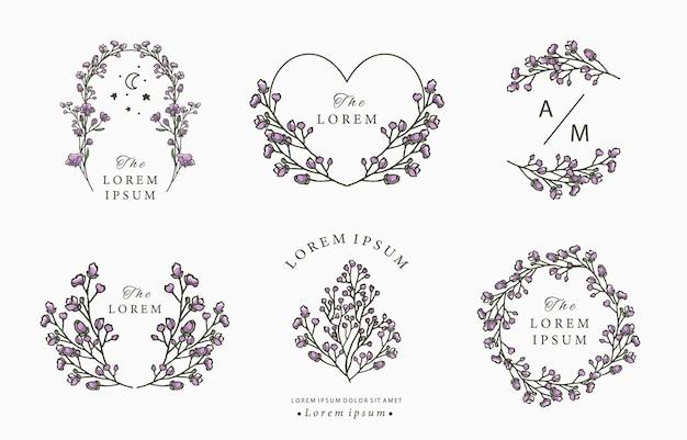 Черная линия цветочный логотип с лавандой
