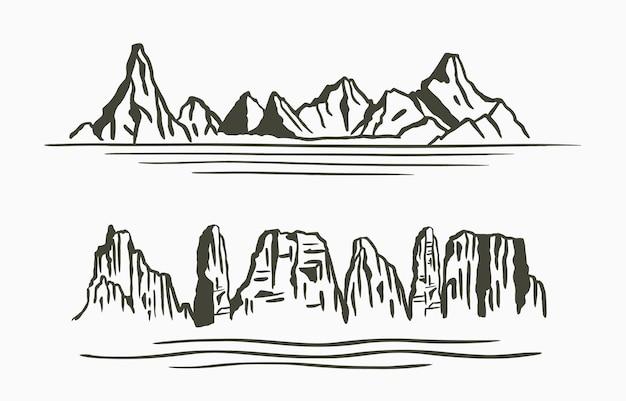 山、川と黒い線の自然の風景
