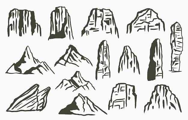 山と黒い線の自然の風景
