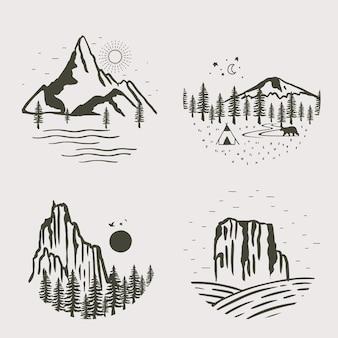 Черная линия природных пейзажей с горными реками