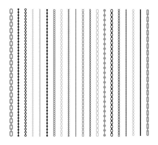 チェーンフラットイラストセットの黒い線。チェーンリンクとボーダーパターンブラシ分離ベクトルコレクション。接続とファッションデザイン要素の概念