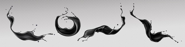 Черные брызги жидкости, водоворот и волны с разбросанными каплями
