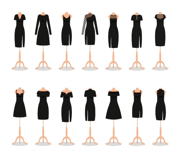 Black little dress on mannequins. . set of girl clothing on hangers. collection elegant evening and cocktail women dresses. clothes icon isolated on white background. flat illustration.