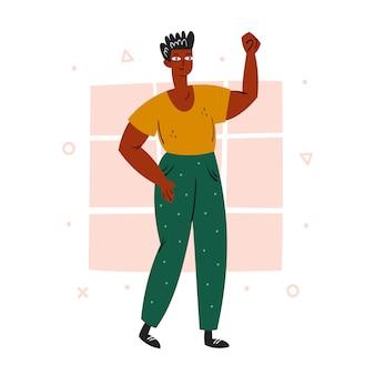 Жизни темнокожих имеют значение. афро-американский мужчина с поднятой рукой. темный цвет кожи. нет расизма. активная социальная позиция. мир. положительные эмоции плоский рисунок, значок, стикер. изолированные на белом фоне
