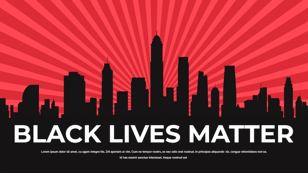Black lives matter banner awareness campaign against racial discrimination of dark skin color