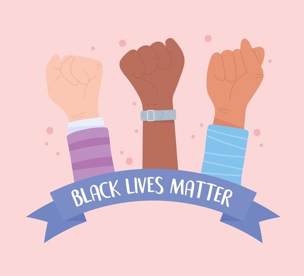 Черные жизни имеют значение знамя протеста, солидарность с поднятыми руками, информационная кампания против расовой дискриминации