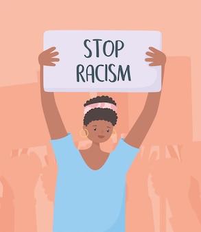 Черные жизни имеют значение баннер для протеста, женщина со знаменем борется за равенство, информационная кампания против расовой дискриминации