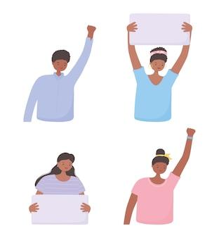 Черные жизни имеют значение баннер для протеста, женщины и мужчины со знаменами, информационная кампания против расовой дискриминации