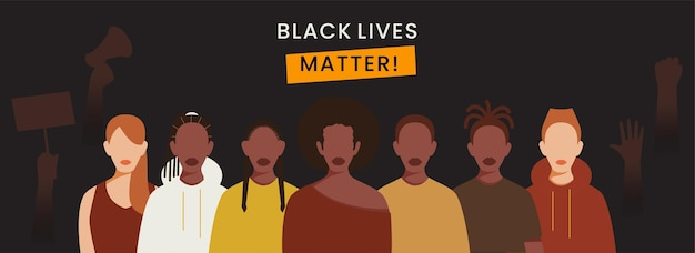 Black lives matter banner or header design with cartoon multinational young people protest on dark grey background.