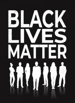 Black lives matter banner people silhouette awareness campaign against racial discrimination of dark skin color
