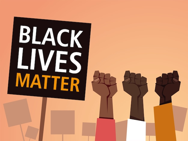 Black lives matter on banner with fists design of protest justice and racism theme illustration