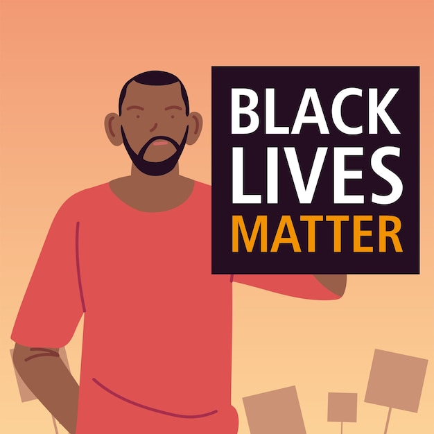 Black lives matter banner with man cartoon design of protest justice and racism theme illustration