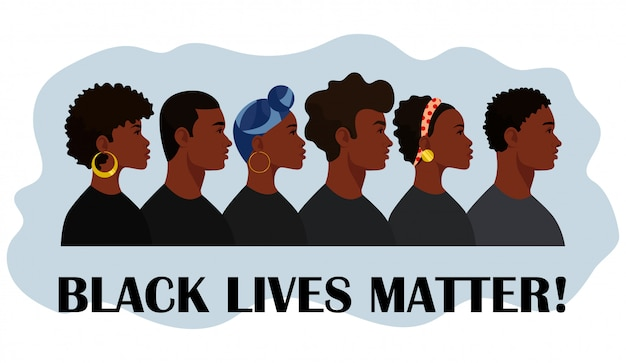 Жизни темнокожих имеют значение. чернокожие граждане борются за равенство. социальные проблемы расизма.