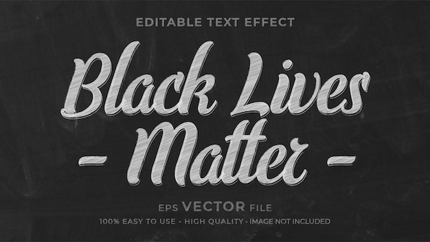 Black lives matter chalk   editable text effect