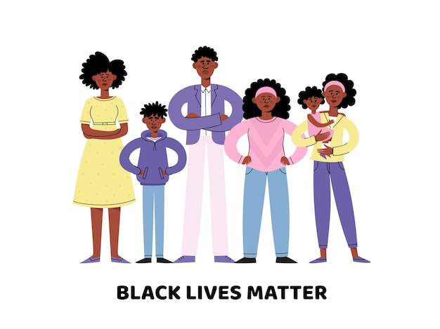 Black lives matter  concept with young and adult afro american people in  style, idea of demonstration for racial equality.