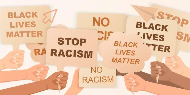 흑인의 생명은 권리를 위해 항의하는 사람들의 군중입니다. 손에 포스터를 들고 인종 차별주의 배너가 없습니다. 손을 잡고 항의 포스터 자유 항의 개념 혁명과 시위