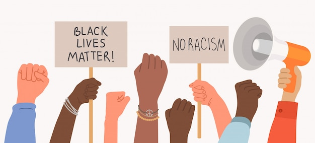 Black lives matter, a crowd of protestors hold placards and raise their fists. protest poster no racism. illustration