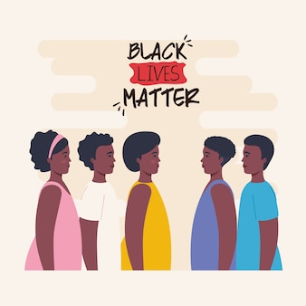 Black lives matter, group african of profile, stop racism.