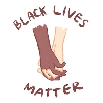 Black lives matter hand cartoon illustration
