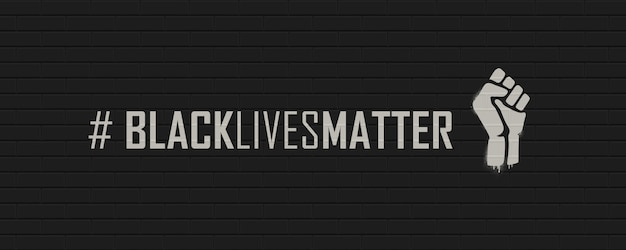 벽돌 벽에 black lives matter hashtag. 삽화