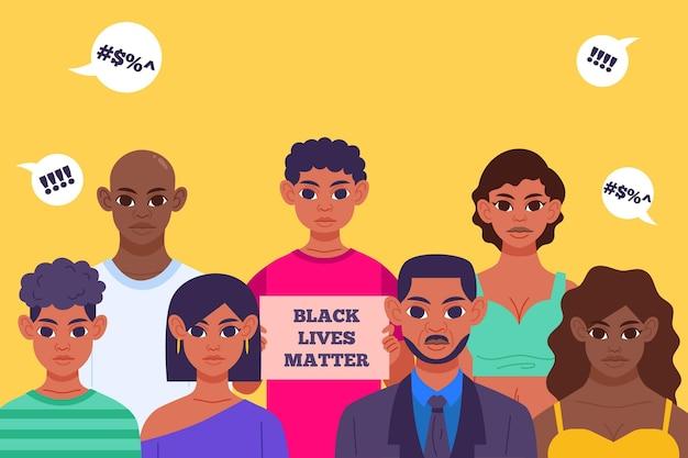 Black lives matter illustration with people