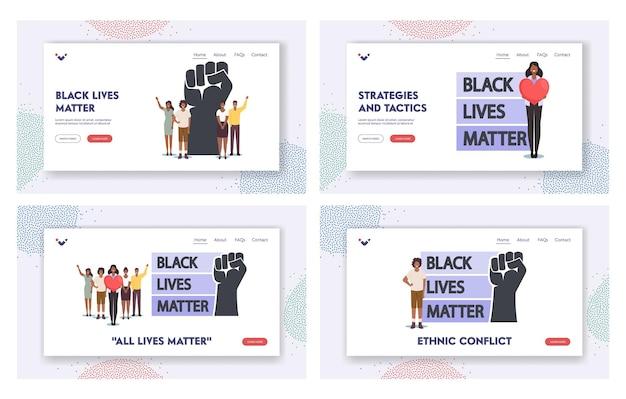 Black lives matter 방문 페이지 템플릿 세트. 마음과 제기 손을 가진 흑인 캐릭터. 어두운 피부색의 인종 차별에 반대하는 평등 캠페인. 만화 사람들 벡터 일러스트 레이 션