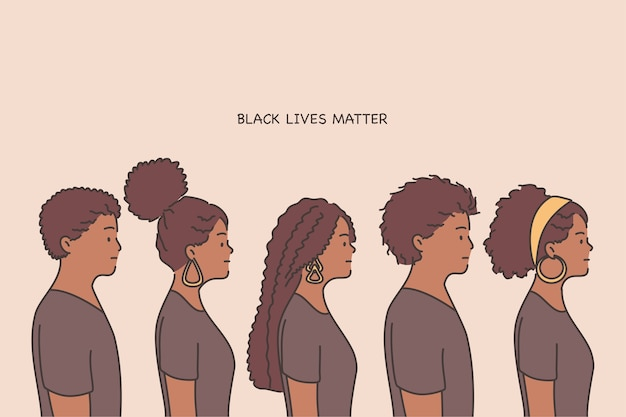 Black lives matter lettering, human rights of black people concept.
