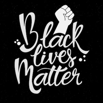 Black lives matter lettering with drawn fist