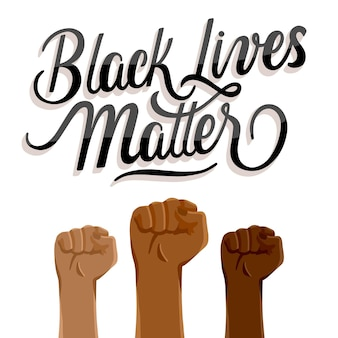 Black lives matter lettering with fists