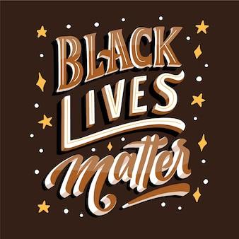 Black lives matter lettering with stars