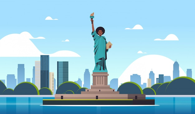 Black lives matter liberty statue awareness campaign against racial discrimination of dark skin color