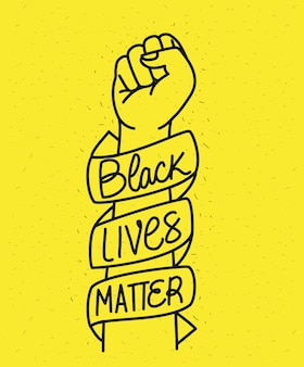 黒の命は拳の周りのリボンで重要