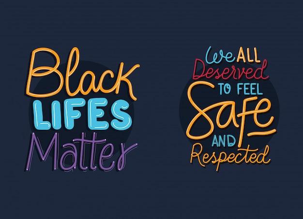 Черные жизни материи фразы дизайн вектор