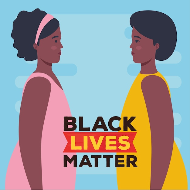 Black lives matter, profile women african, stop racism.