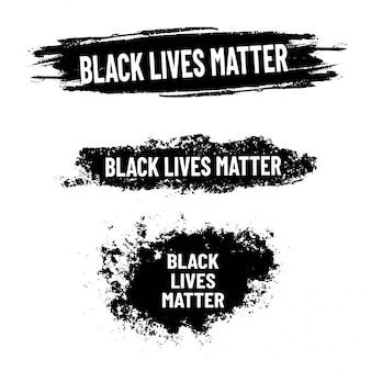 ブラックライブマター。黒グランジ背景を持つ抗議ポスター。人種差別をやめなさい。ラベルのセット