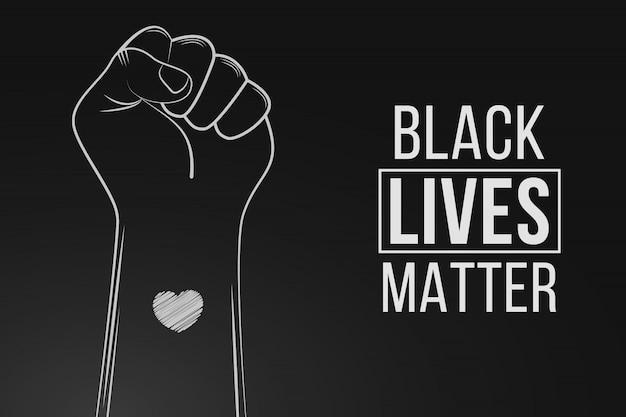 Black lives matterの抗議。暴動。黒人への暴力を止めなさい。心で拳のシンボル。