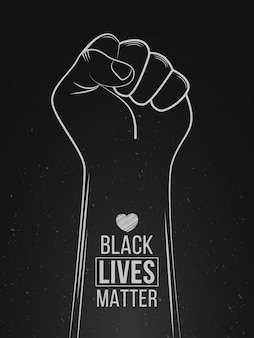 Black lives matter protest. stop violence to black people. fist symbol with heart. hand draw vector illustration