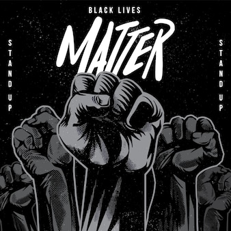 Black lives matter raised fist illustration
