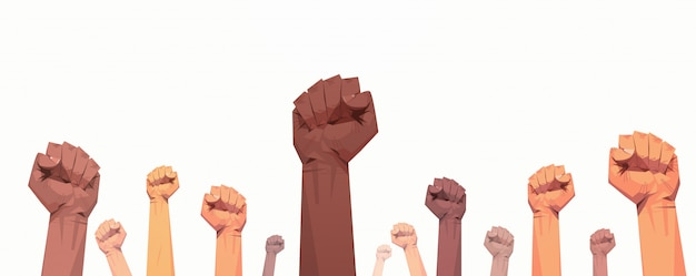 Black lives matter raised up mix race fists awareness campaign against racial discrimination