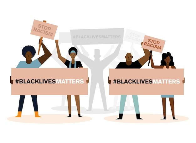 흑인 생활 문제는 인종 차별주의 배너와 항의 테마의 사람들 디자인을 중지합니다.