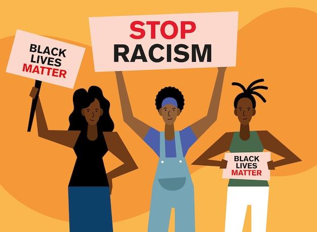 흑인 생활 문제는 인종 차별주의 배너와 항의 테마의 여성 디자인을 중지합니다.