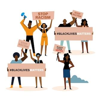 흑인 생활 문제 중지 인종 차별 배너 확성기와 사람들이 항의 테마 디자인.