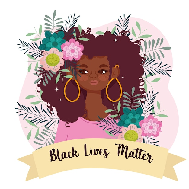 Black lives matter template with cute afro woman, flowers and ribbon